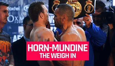 Mundine grabbed Horn by the throat at the weigh-in (video)